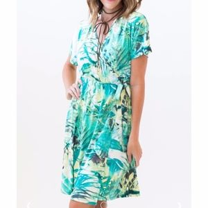 Agnes & Dora | Tropical Leaf Nightingale Dress L